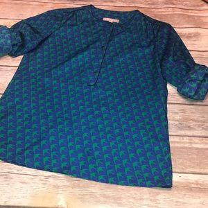 BANANA REPUBLIC~Bird Print Long Roll-Sleeve Blouse